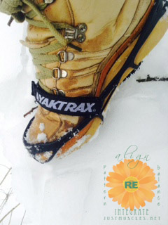 Image of Yaktrax cleats on snow boots