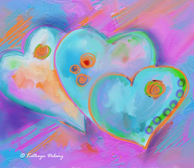 Image of 3 hearts painted by Kathryn Delany