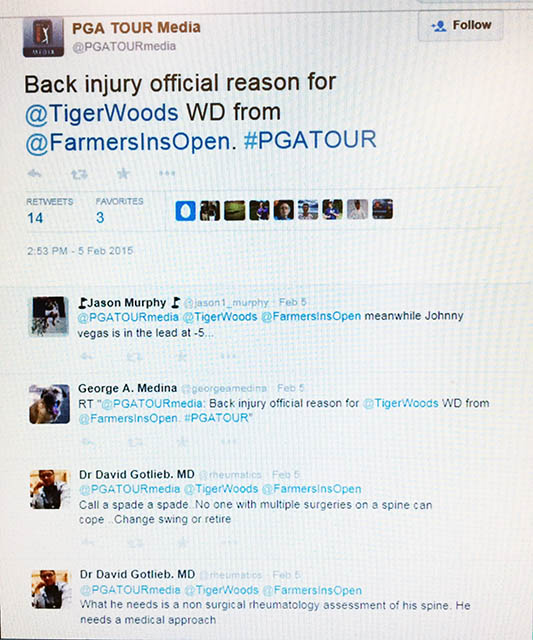 Image of a screenshot of a Twitter stream about Tiger Woods