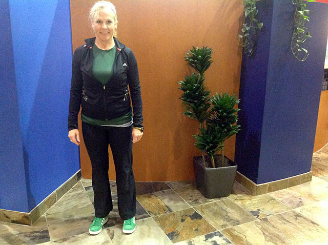 Image of Laura Coleman demonstrating  sideways walk start position
