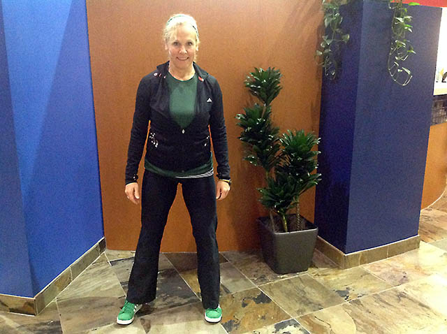 Image of Laura Coleman demonstrating  sideways walk first step