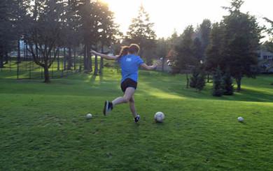 Image of Sarah Coleman playing foot golf