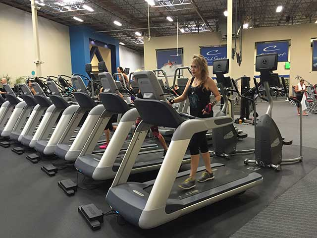 Image of a woman on an indoor treadmill