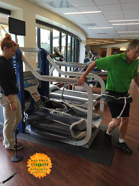 Image of man dismounting after air treadmill workout