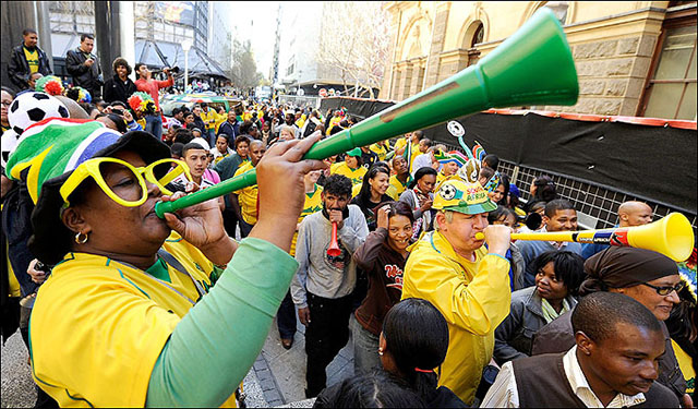 Image of a person blowing a vuvuzela courtesy thesun.co.uk