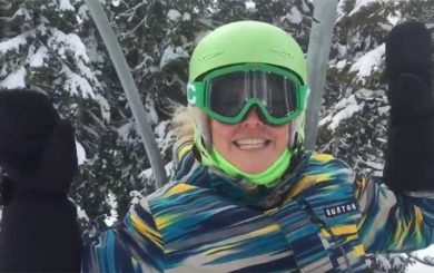 image of personal Trainer, Laura Coleman on a ski lift