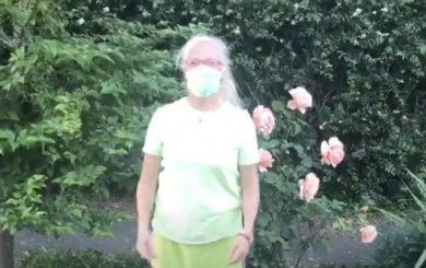 image of personal trainer-laura-coleman-waite-wearing-a-protective-mask